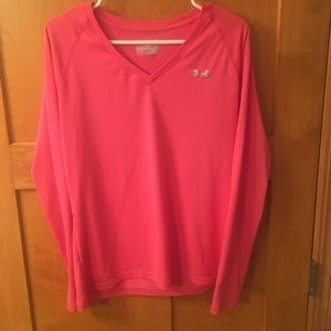 Under Armour Pink long sleeve v neck tee